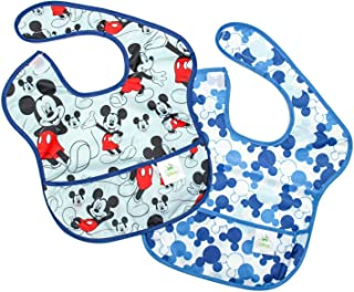 Bumkins Disney Mickey Mouse SuperBib, Baby Bib, Waterproof, Washable, Stain and Odor Resistant, 6-24 Months, 2-Pack - Classic/Icon