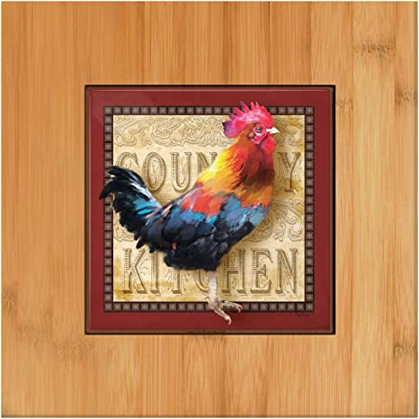 Amazon Com Rustic Rooster Kitchen Decor Country Kitchen Trivet Rooster Kitchen Tools Tile And Wood Trivet Kitchen Dining