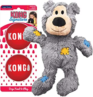 KONG - Wild Knots Bear & Signature Balls 2 Pack - Internal Knotted Ropes Plush Toy and Squeak Balls (Assorted Colors)