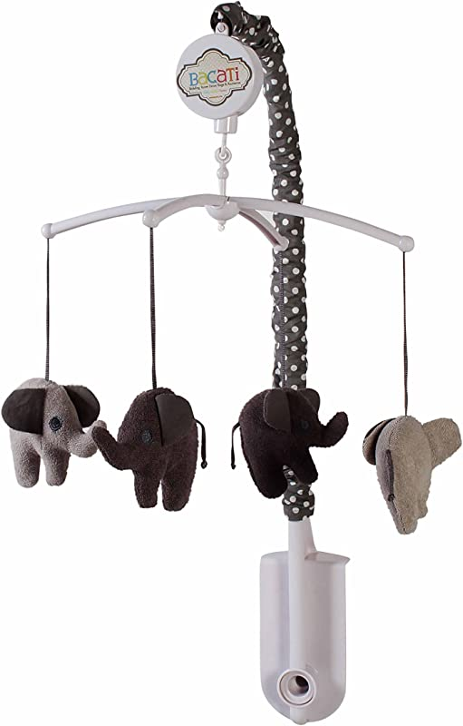 Bacati Elephants Unisex Musical Mobile Playing Brahms Lullaby For Attaching To US Standard Cribs Grey