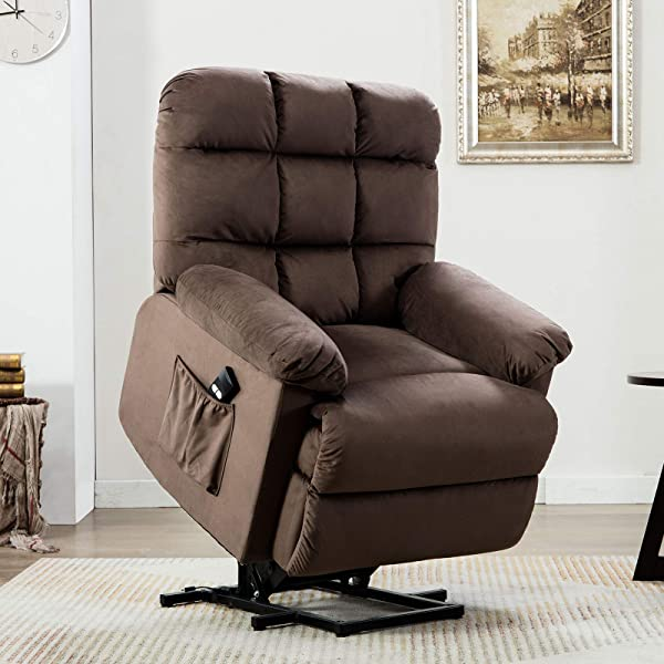 ANJ Power Lift Recliner Chair For Elderly With Over Stuffed Armrest And Comfort Broad Backrest Remote Control For Gentle Motor Chocolate