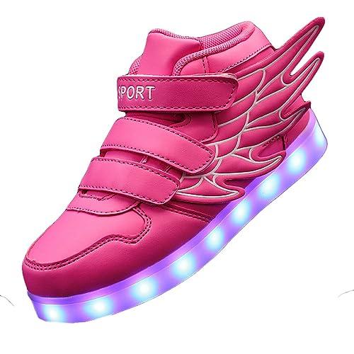 0075199f2d7f Gaorui Kid Boy Girl LED Light up Sneaker Athletic Wings Shoe High Student  Dance Boot USB