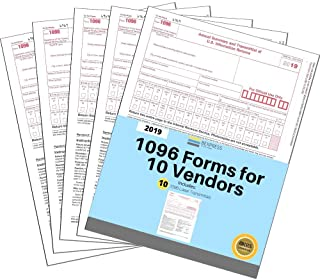 "1096 Tax Form for 2019-10 Pack - 8.5""x11"" inches - IRS Approved Summary Laser Transmittals Designed for Quickbooks and Accounting Software"