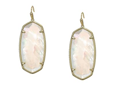 Kendra Scott Faceted Elle Earrings (Gold/Ivory Mother-of-Pearl) Earring