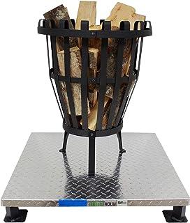 TRUTZHOLM Massive, schwere Bodenplatte 66x66cm für Feuerkorb/Feuerschale Funkenschutz Schutzplatte Hitzeschutz für Terrasse, Boden und Rasen