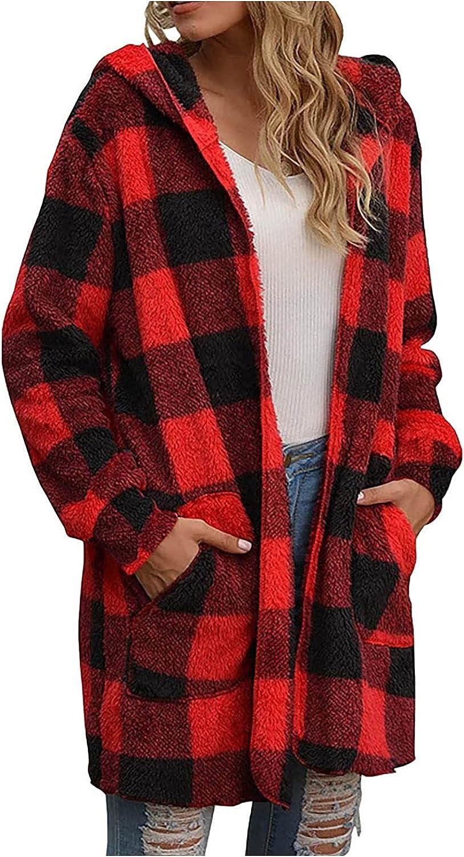 VonVonCo Cardigan Sweaters for Women Fashion Plaid Print Jacket Zipper Pocket Sweatshirt Long Sleeve Coat