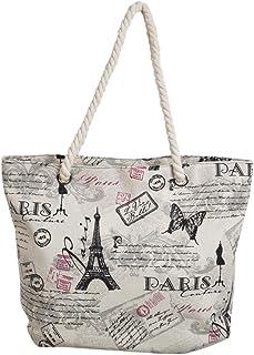 Premium Large Paris Eiffel Butterfly Print Canvas Tote Shoulder Bag Handbag