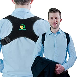 Back Posture Corrector for Men and Women by Recoveryt - Adjustable Upper Back Brace for Shoulder Pain Relief - Helps Correct Slouching by Stretching Upper Body Muscles - Easy to Wear and Comfortable
