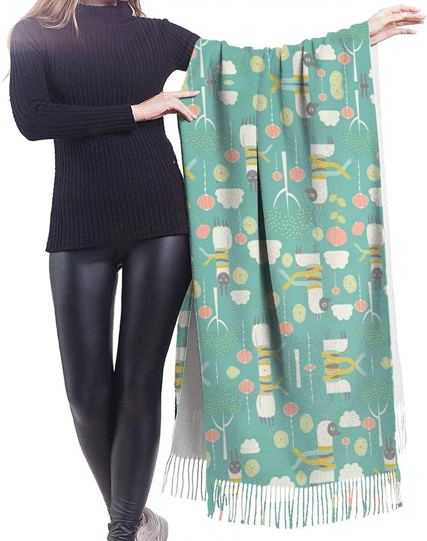 Cute Alpaca Cashmere Feel Scarf Lightweight Soft Scarfs For Boys Girls Creative Warm Cold Weather Blanket Scarf