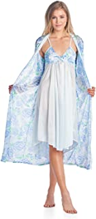 Women's Satin 2 Piece Robe and Nightgown Set
