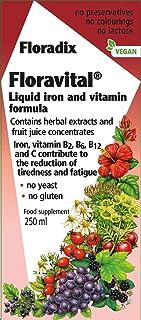 Floravital Liquid Iron Supplement + Herbs 8.5 Ounce - Yeast & Gluten Free + Flora Organic Apple Cider Vinegar Shot 3oz Com...