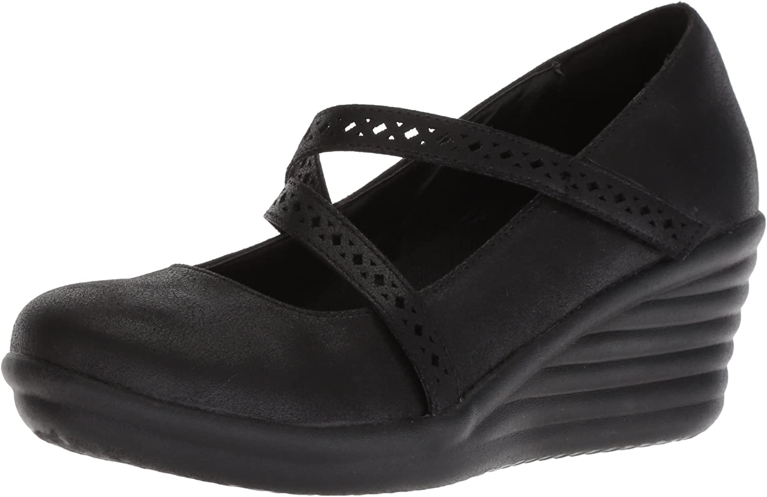 Skechers Womens Rumbler Wave - Filigree - Laser-Cut Strap Mary Jane Wedge Pump