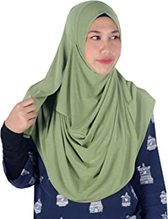 Womens Green Plain Double Loop Instant Hijab Scarf Ready To Wear