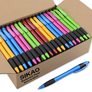 SIKAO Pens Bulk, Gripped Slimster Retractable Ballpoint Pen Medium Point Black ink (Mixed 60Pack)