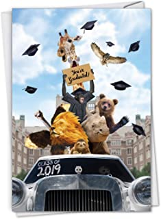 Going Wild 2019 - Graduation Card with Envelope (4.63 x 6.75 Inch) - Wild Zoo Animal Graduates, Funny Graduate Card for Kids, Adults - HS Students, College Grads, Congrats Stationery C6269AGDG-19