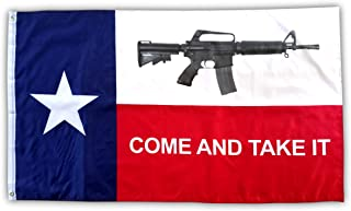 High Supply 3x5 Texas Come and Take It Flag with Two Brass Grommets, Double Stitched Edges, and 100% Polyester Fabric, Come and Take It Flag 3x5 Foot Texas Flag, 2nd Amendment Flag