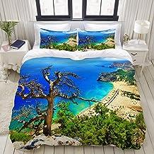 EFYSOI Duvet Cover Twin, Antique Woman Man Boy Girl Bedding, Greek Beach View Rhodes Island Tsambika Coastline Clear Sky a...