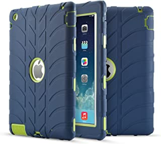 iPad 4 Case,iPad 3 Case,iPad 2 Case, UZER Tire Pattern Shockproof Anti-slip Silicone High Impact Resistant Hybrid Three Layer hard PC+Silicone Armor Protective Case Cover for iPad 2/3/4