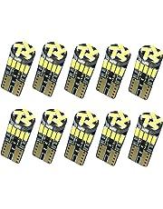 Nakobo 10個 T10 LED ホワイト 爆光 キャンセラー内蔵 車検対応 4014 チップ12V カー/バイク ポジション ナンバー灯/ルームランプ (一年保証)