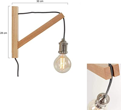 Lot de 2 lampes murales rétro avec interrupteur à cordon 1 ampoule - Style industriel - En acier et bois - Couleur : argenté/marron - Culot : E27 - Avec filament LED rétro (2 applique murale rétro)