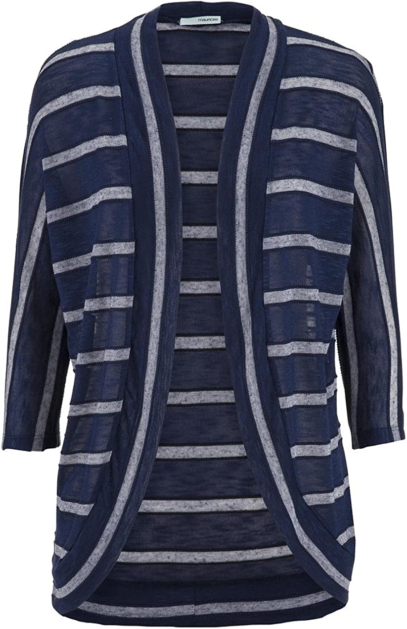 maurices Women's Open Front Striped Cocoon Cardigan Blue Jasmine