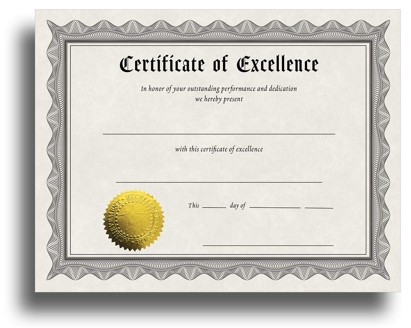 Certificate of Excellence Certificate Paper with Embossed Gold Foil Seals -  24 Pack - Parchment Award Certificates for Students, Teachers, Employees - In Award Of Excellence Certificate Template
