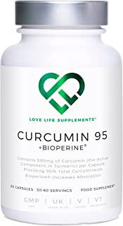 Curcumin 95 + Bioperine® by LLS | Highest Quality Turmeric Extract containing ONLY CURCUMIN (the active component of Turme...