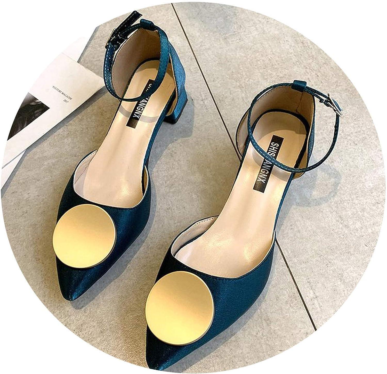 I'll NEVER BE HER Summer Women High Heels shoes Classics Platform Pointed Toe Square Heel Pumps Wedding Dress