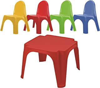 Starplay Keren Kids Play Table & 4 Chairs Primary Colors