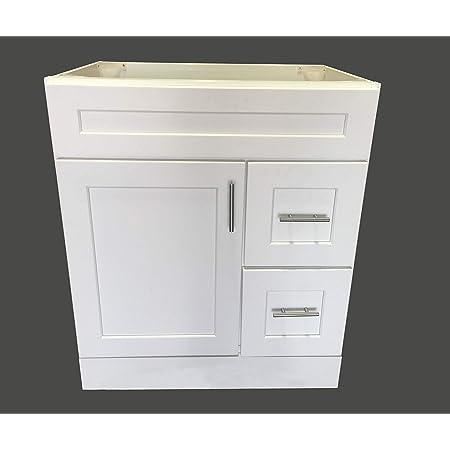 New White Shaker Single Sink Bathroom Vanity Base Cabinet 30 Wide X 21 Deep Ws V3021dlr Amazon Com