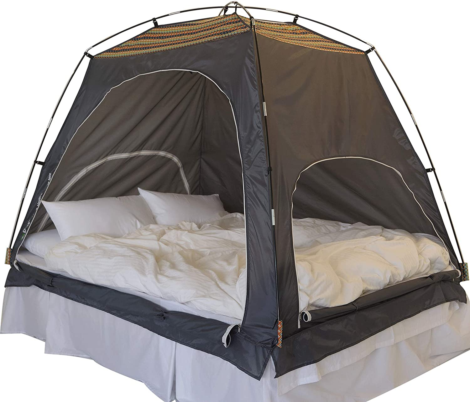 Daverse Floorless Indoor Privacy Tent on Bed Blackout keep Warm Play Tent with FREE LED Light (Medium Double Full Queen bed) (Deep Green)