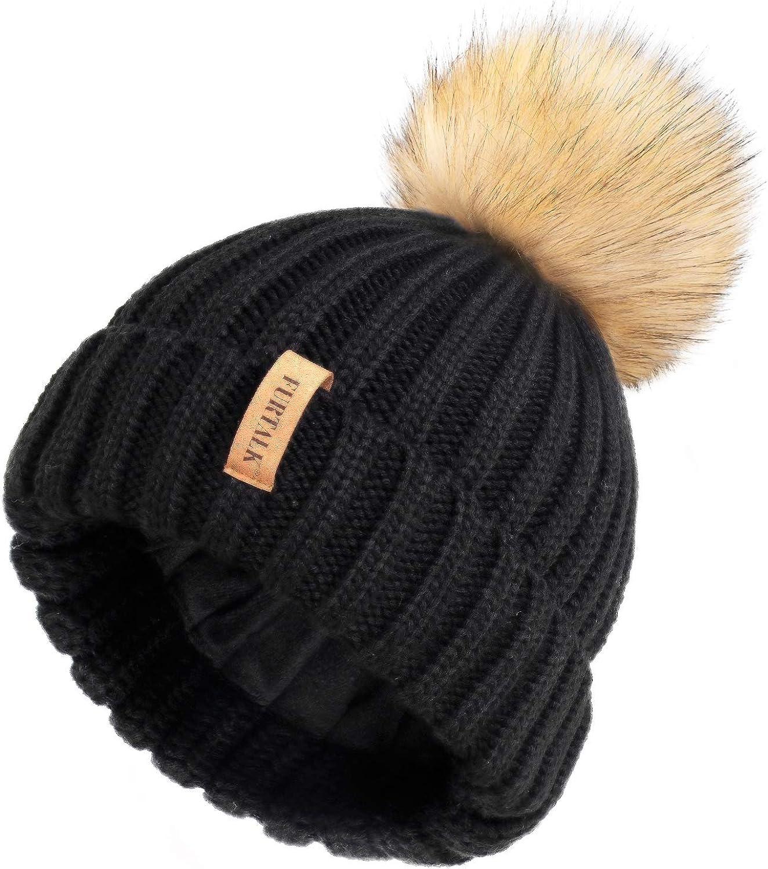 FURTALK Chapeaux dhiver pour Femmes Bonnet en Ligne Polaire Double Couche avec Chapeaux /à Pompons en Fausse Fourrure