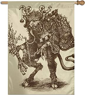 MINIOZE Vintage Retro Christmas Greeting Krampus Themed Welcome Extra Big Large Jumbo for Outdoor Outside Decorations Ornament Picks Garden Yard Traditional Decorative Front 27
