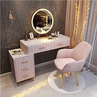 LIUSU-Walker Tocador Moderno, Tocador Rosa con Espejo De Luces LED, Tocador De Maquillaje con Cajones Y Sillas para Dormitorio,80cm