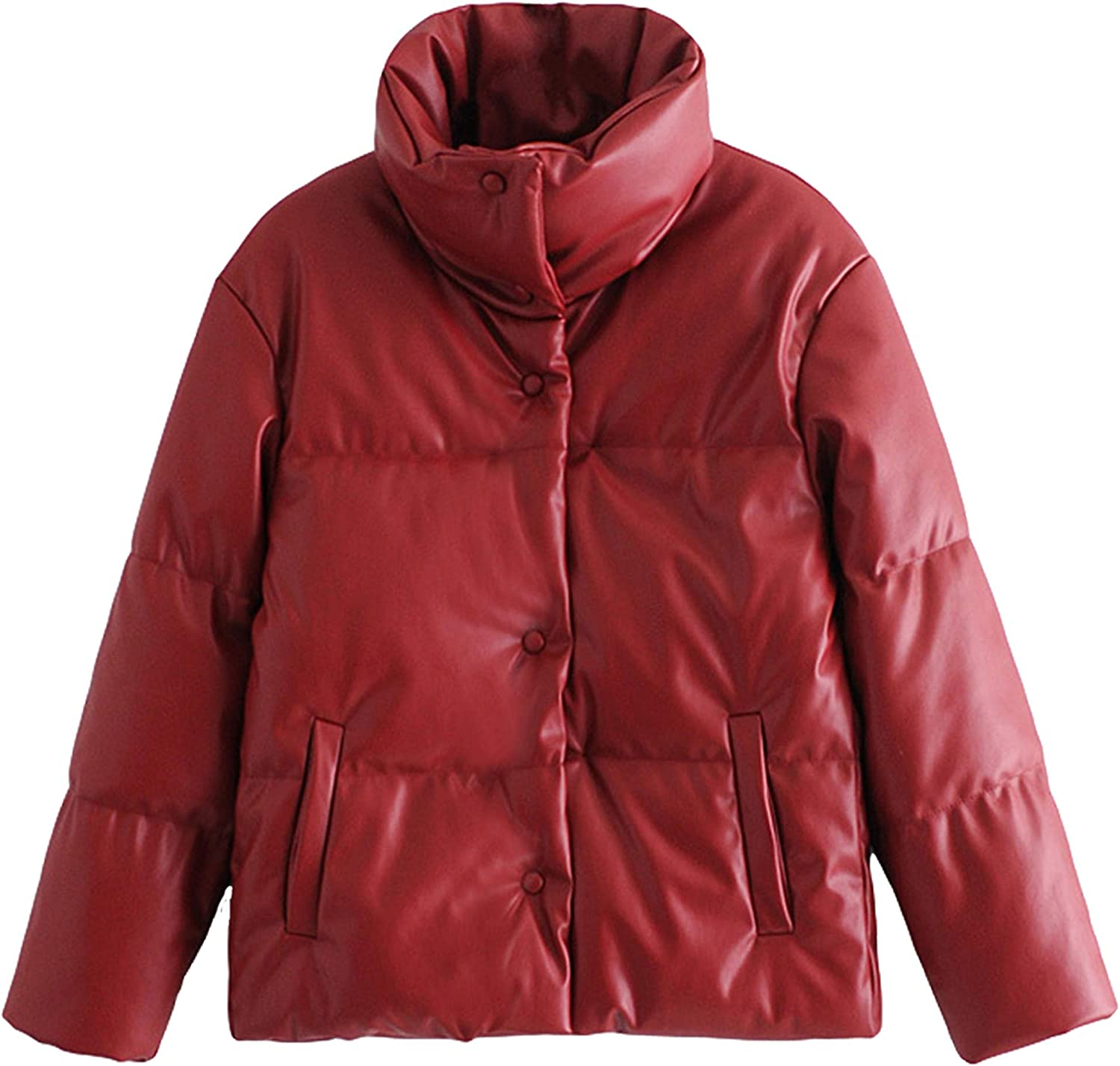 Springrain Women's Casual Lapel Button Pu Faux Leather Winter Quilted Padded Coat