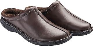 Samuel Windsor Men's Handmade Leather Slipper Mule, Slip on Indoor, Outdoor Footwear Brown