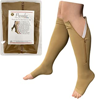 Presadee Premium 20-30 mmHg Firm Compression Swelling Pain Zipper Open Toe Sock (Beige, 3X-Large)