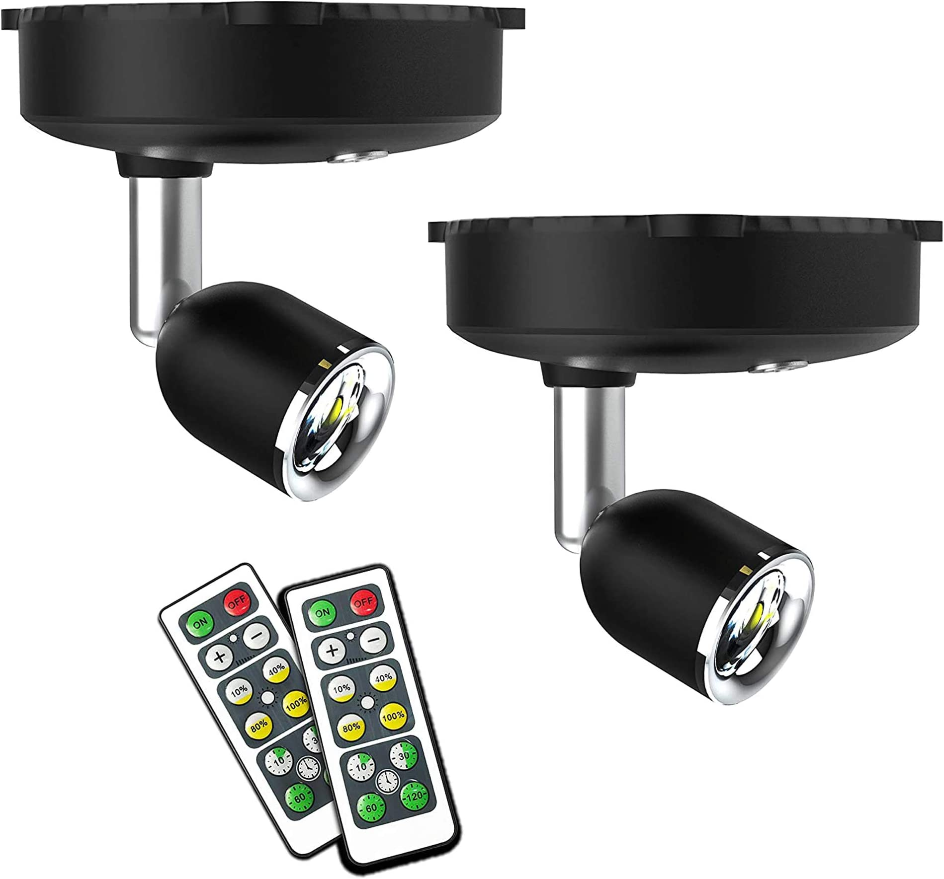 Justech 2PCs RGB LED Spotlights Wireless Ceiling Lights Battery Operated Ceiling Spotlight Adjustable Spotlight Head withRemote Control for Pictures Painting Closet