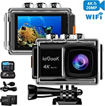 $44 Get Action Camera, ieGeek 4K 20MP WiFi Waterproof Sports Cam Ultra HD Underwater Camera DV Camcorder EIS Image Stabilizer 170 Degree Wide-Angle with 2 Battery/External Microphone/Carry Case/Accessory Kit