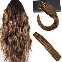 Sunny 18inch Weft Seamless Human Hair Extensions Thick Bundles of Brazilian Hair Bundles Blonde Highlight Dark Brown 100g Per Pack