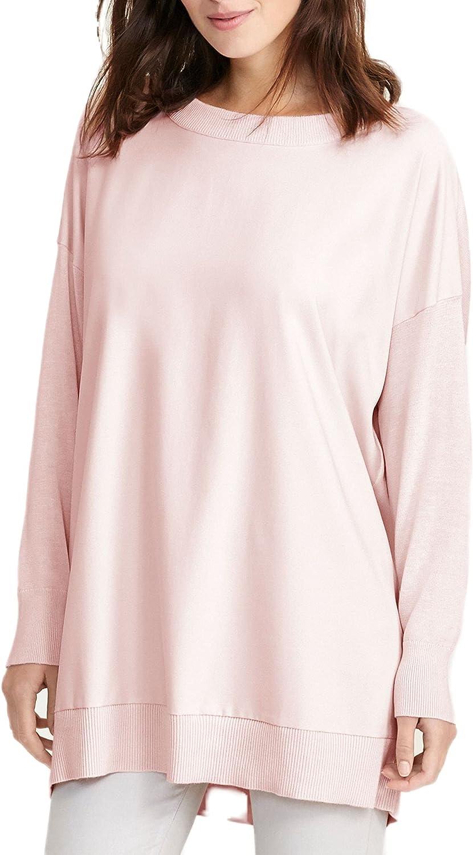 Lauren Ralph Lauren Womens Jadim Mixed Media Crew Neck Pullover Sweater Pink L