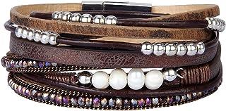 AZORA Womens Leather Wrap Bracelet Handmade Pearls Beads...