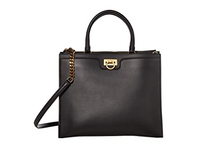 Salvatore Ferragamo Gancio Square Top-Handle (Nero) Handbags