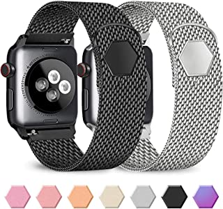 Pack 2 Metal Band Compatible with Apple Watch 38mm 40mm 42mm 44mm,Stainless Steel Mesh Loop with Adjustable Magnetic Closure Bands Compatible for iWatch Series 5/4/3/2/1 (Black+Silver, 38mm/40mm)