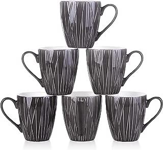 DOWAN Coffee Mugs 14 Ounces Tea Mugs Broad Handle Ceramic Tea Cups Set of 6 Non Slip Coffee Cups - Dark Gray