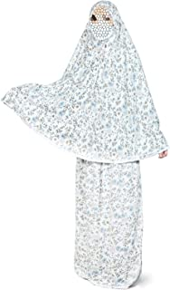 Two-Piece Prayer Clothes Outfit Muslims Dress For Ladies and Girls Comfortable for Daily use Printed Fabric With Flower Ha...