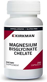 Kirkman Magnesium-Bisglycinate Chelate - Hypoallergenic | 250 Vegetarian Capsules | Gluten Free | Casein Free