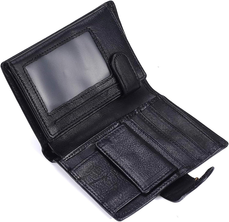 XULONG Herren-Leder-Wallet Wachs-Leder Kurz Retro Geld Clip Clip Clip Leder Bag Blocking Krotitkarten-Holder-Doppel-Falter Wallet,schwarz B07L76N14T 448723