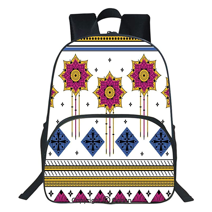 Oobon Kids Toddler School Waterproof 3D Cartoon Backpack, Colored Vector Seamless Pattern with Ethnic Mayan Inspired Motif Print Decorative, Fits 14 Inch Laptop vvhwrirc042103