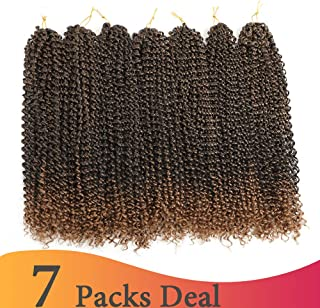 (18 inch,T1B-27#, 80g/pack,22 Roots) BaiHong Passion Twist Crochet Hair 7pcs/lot Water Wave Crochet Braids Long Spring Twist Hair Extensions Ombre Synthetic Crochet Hair(18 inch,T27#)